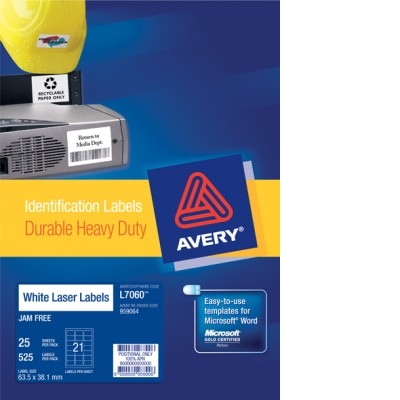 Printed Heavy Duty Vinyl Laser Label - A4 Sheet 21
